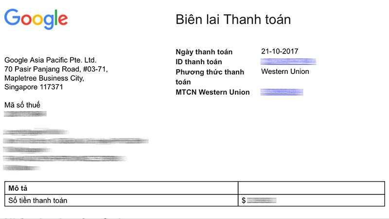 Biên lai thanh toán qua Western Union Google Adsense