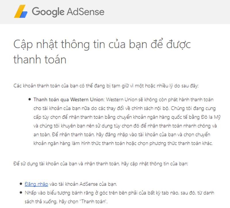 Email thông báo Google Adsene