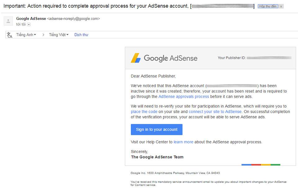Google Adsense Content không hiện quảng cáo