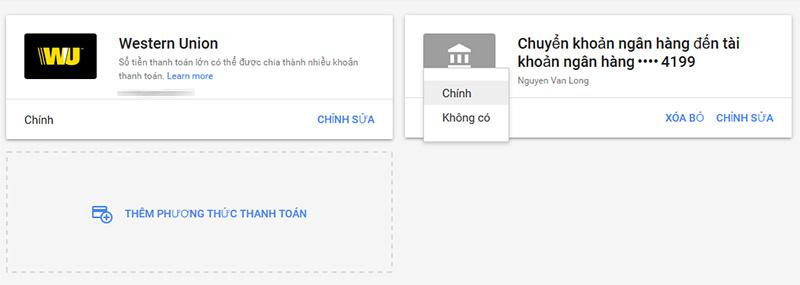 Phương thức thanh toán chính Google Adsene