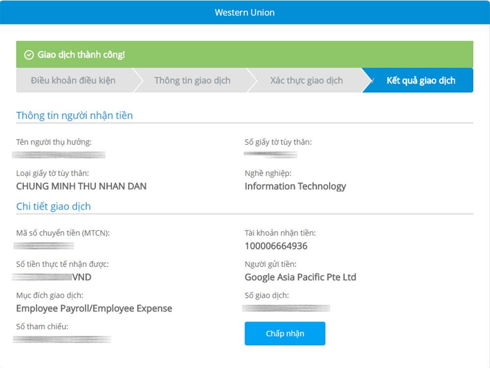 Cách nhận tiền Western Union Online với Vietinbank