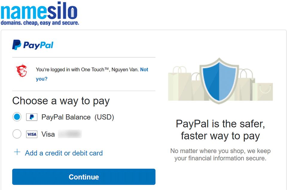 Chọn nguồn tiền PayPal NameSilo