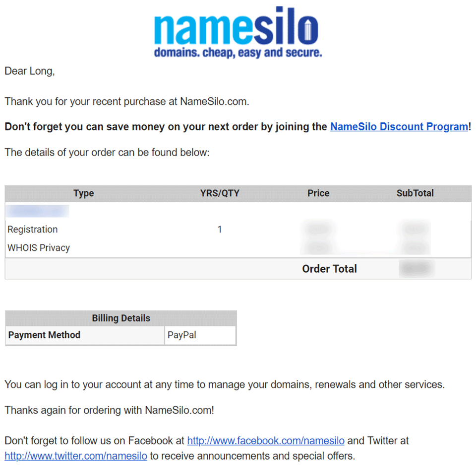 Hóa đơn thanh toán NameSilo