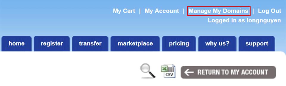 Link quản lý tên miền NameSilo