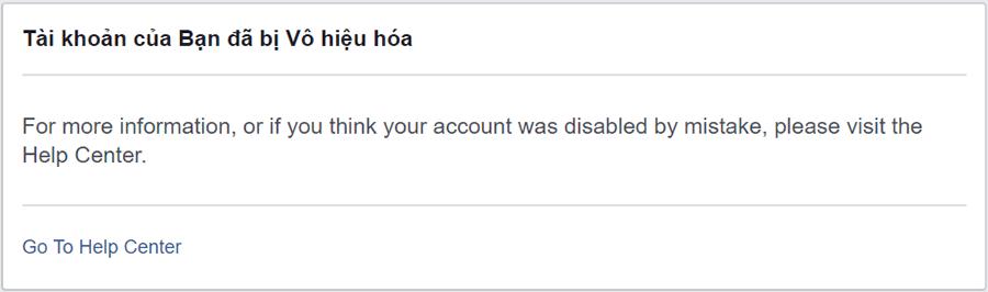 Tài khoản của bạn đã bị vô hiệu hóa Facebook