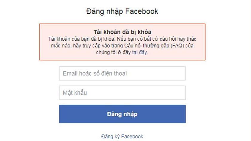 Tài khoản Facebook bị khóa FAQ