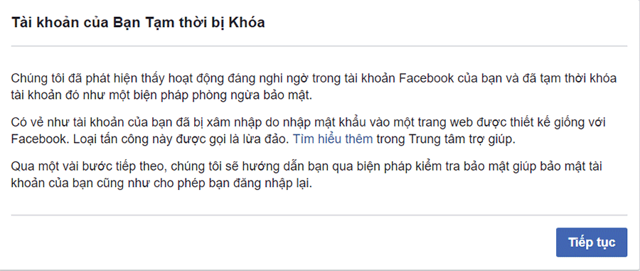 Tài khoản Facebook bị khóa tạm thời