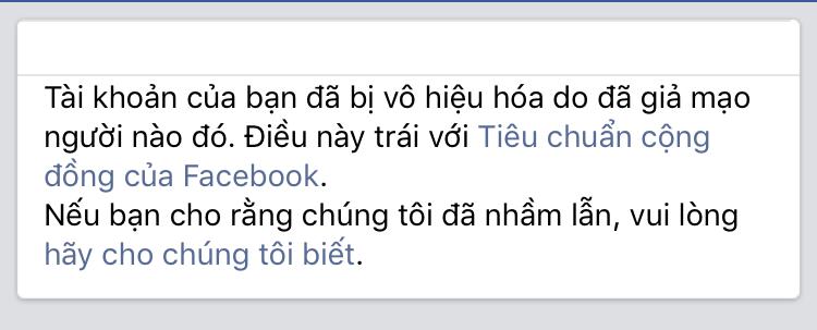 Tài khoản Facebook bị vô hiệu hóa do giả mạo người nào đó