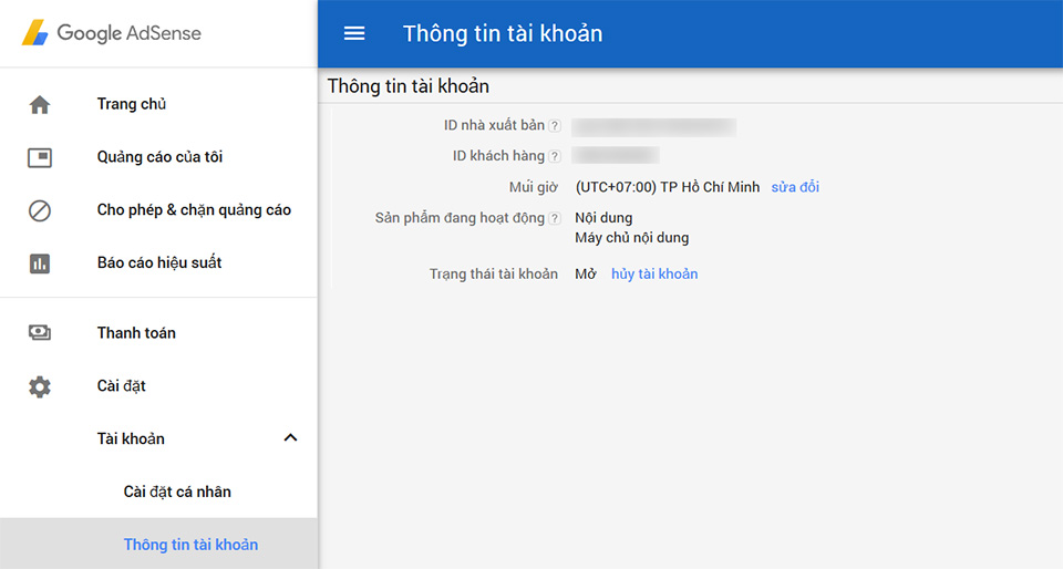 Tài khoản Google Adsense Hosted