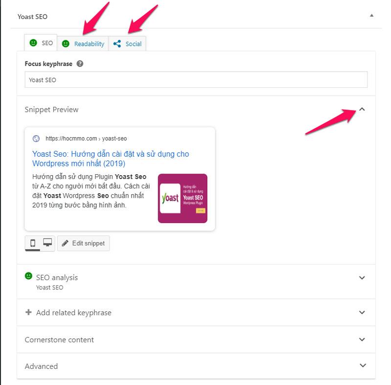 Các chức năng của Yoast SEO khi tạo trang, bài viết mới