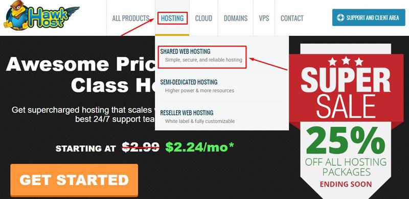 Cách mua hosting Hawkhost