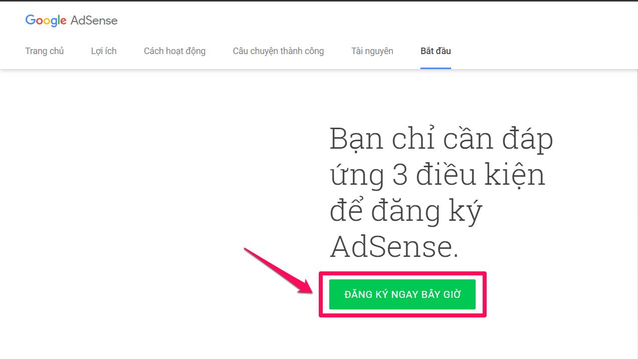 Đăng ký Google Adsense Content