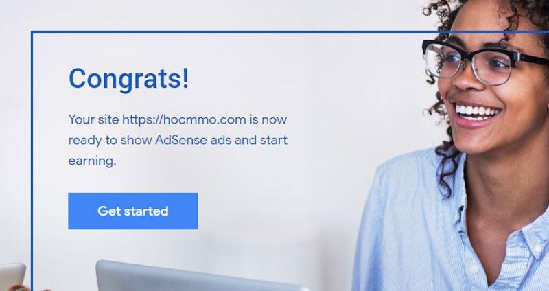 Đăng ký tài khoản Google Adsense Content thành công