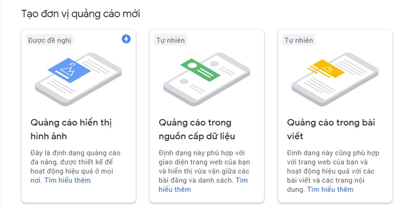 Lấy mã quảng cáo Google Adsense