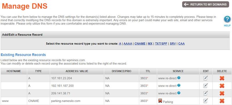Quản lý DNS NameSilo