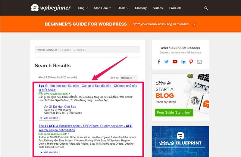 Quảng cáo Google Adsense tìm kiếm