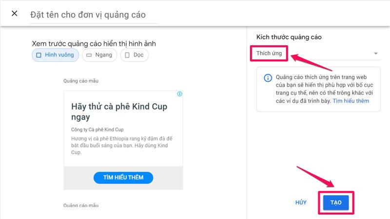 Quảng cáo hiển thị hình ảnh Google Adsense