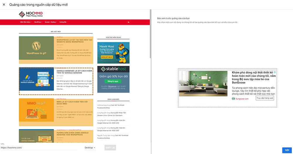 Quảng cáo trong nguồn cấp dữ liệu Google Adsense