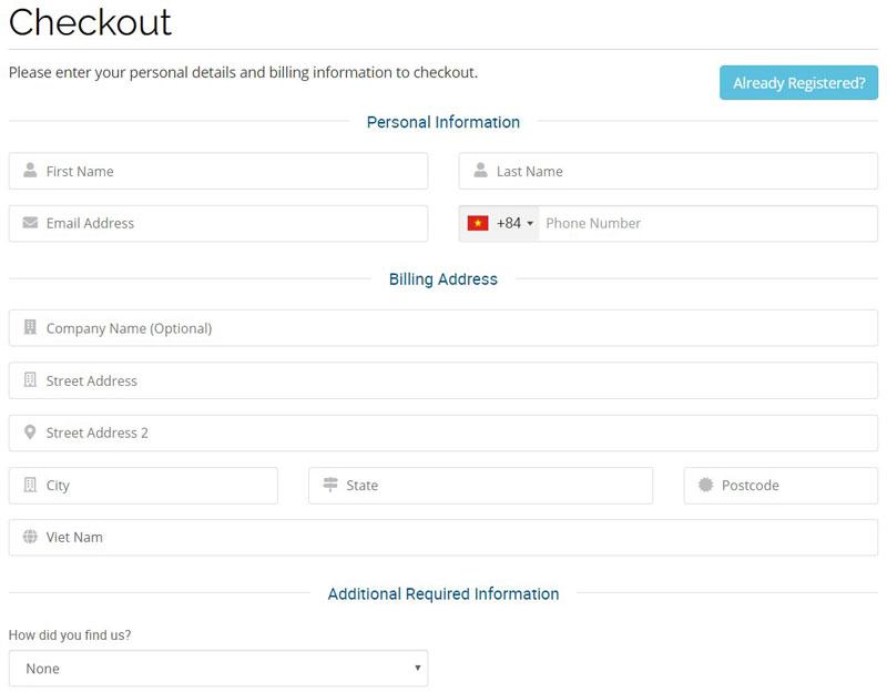 Nhập thông tin tài khoản và thanh toán Hawkhost