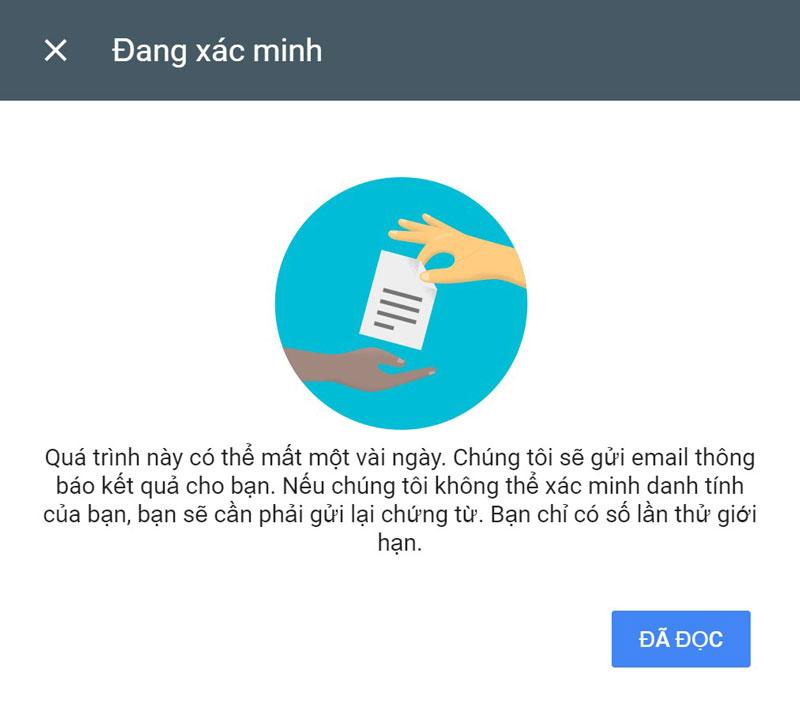 Đang xác minh danh tính Google Adsense