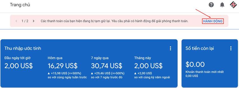 Thông báo nhận PIN Google Adsense