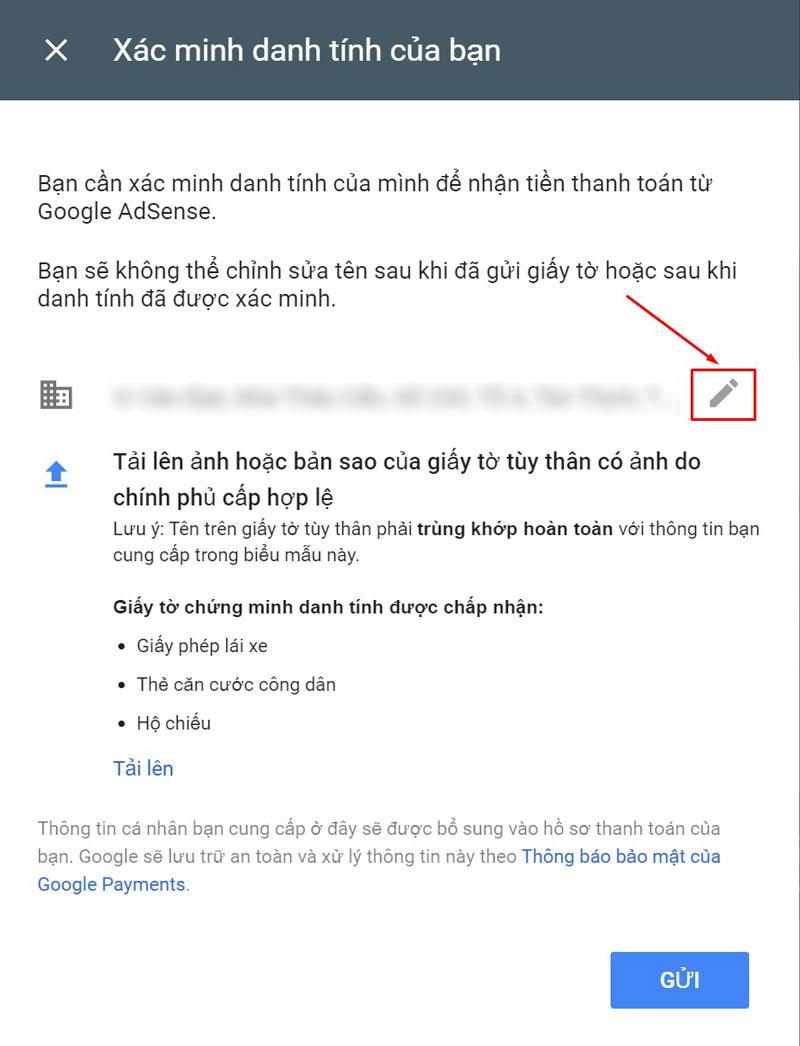 Up giấy tờ xác minh danh tính Google Adsense