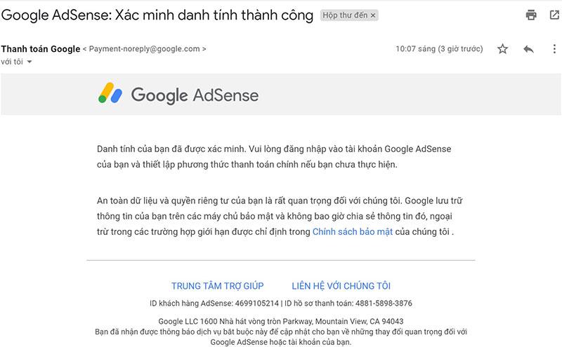 Xác minh danh tính thành công Google Adsense