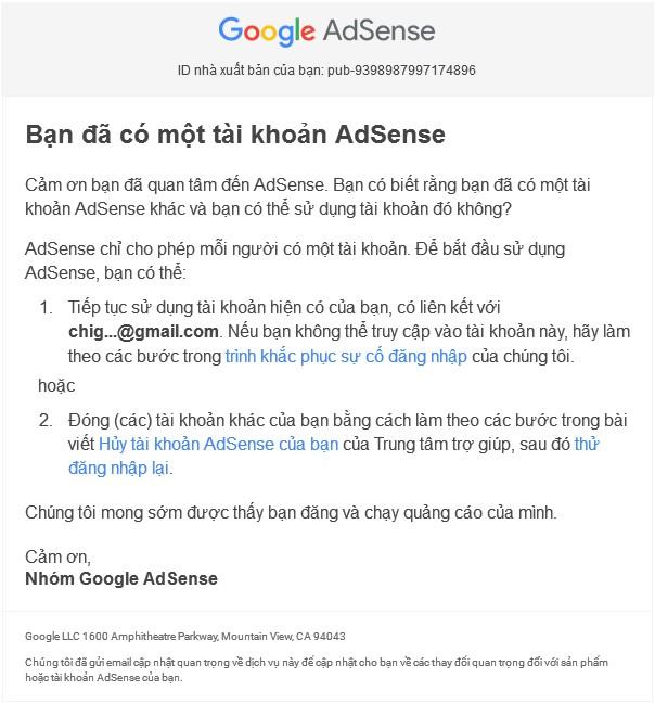Ban đã có một tài khoản Adsense