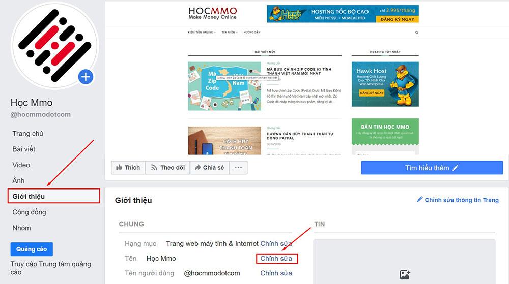 Cách đổi tên fanpage Facebook trên máy tính