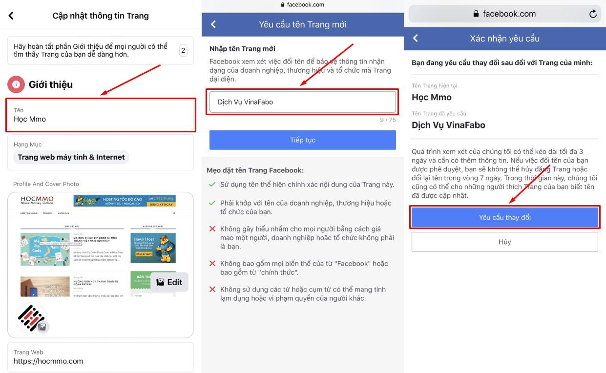 Cách thay đổi tên fanpage Facebook
