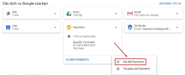 Cài đặt Payments Google