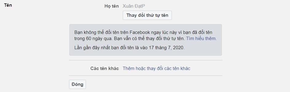 Đổi tên Facebook chưa đủ 60 ngày