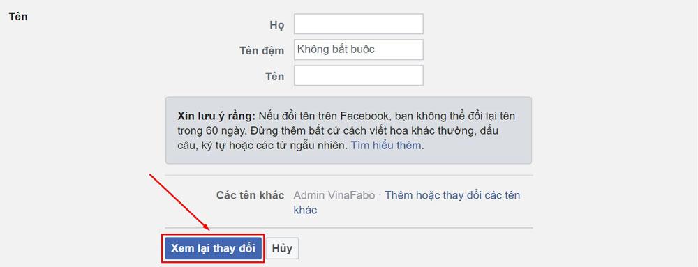 Đổi tên Facebook trên máy tính