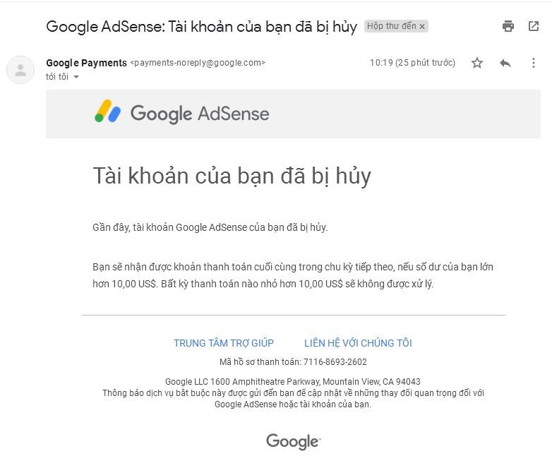 Hủy tài khoản Google Adsense thành công