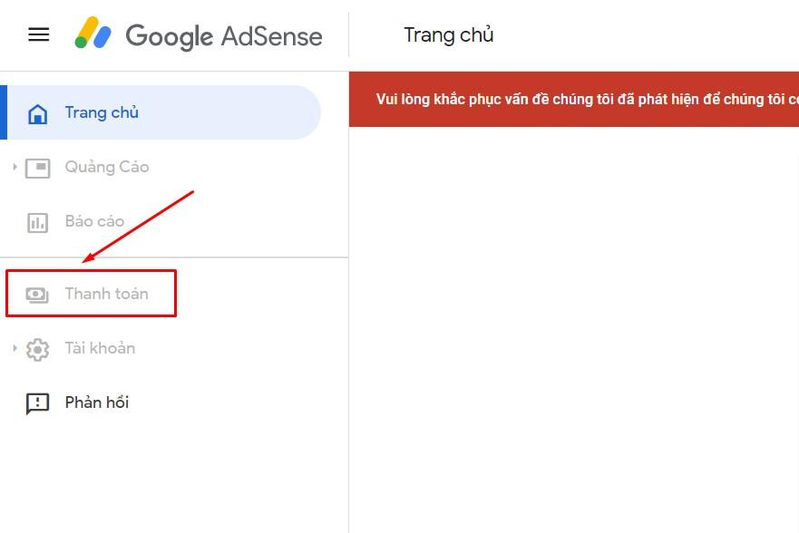 Không hiện nút thanh toán Google Adsense