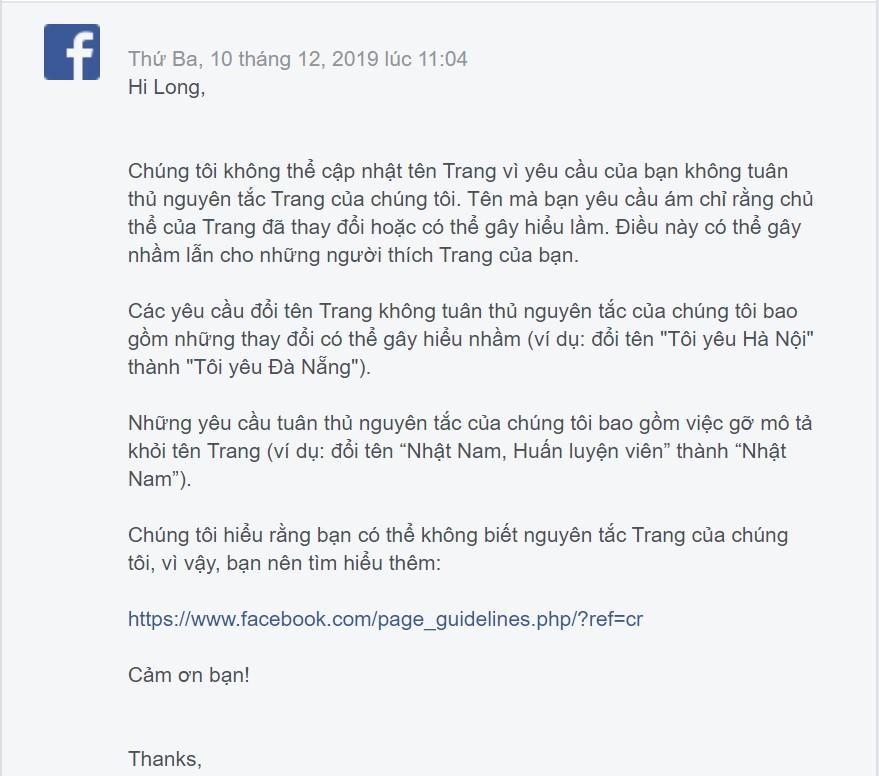 Không thể cập nhật tên trang fanpage Facebook