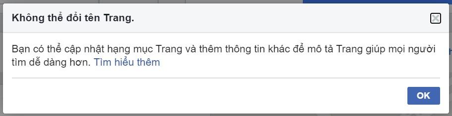 Không thể đổi tên trang fanpage Facebook