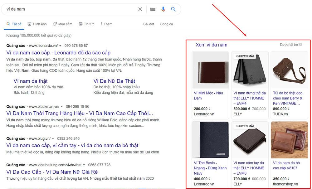 Quảng cáo mua sắm Google Shopping đi kèm kết quả tìm kiếm
